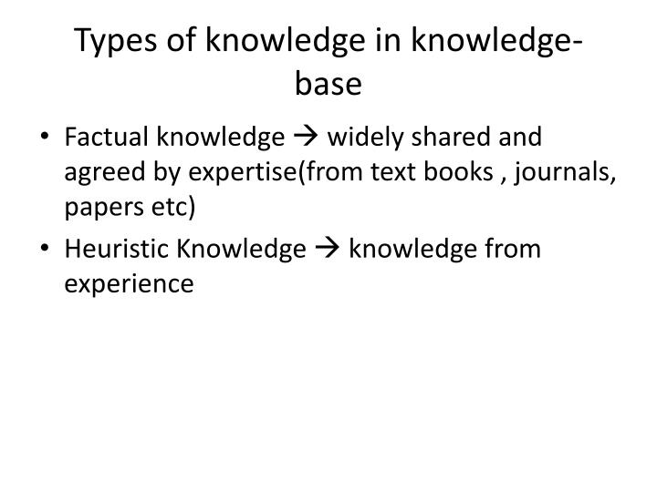 Types of knowledge in knowledge-base
