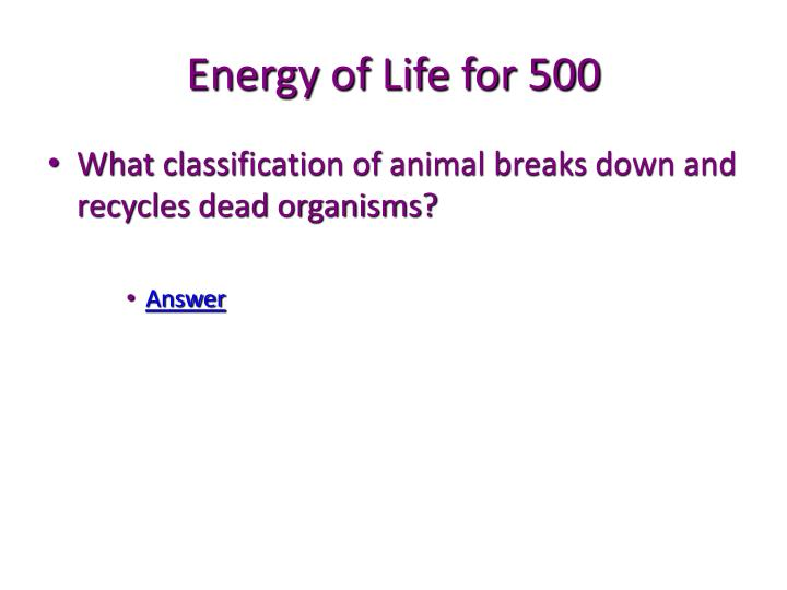 Energy of Life for 500