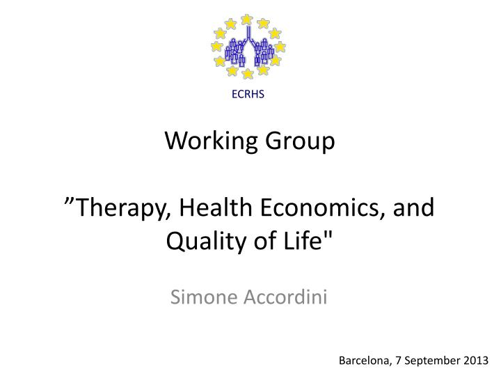 working group therapy health economics and quality of life n.