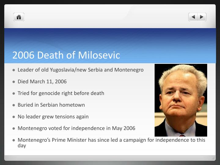 2006 Death of Milosevic