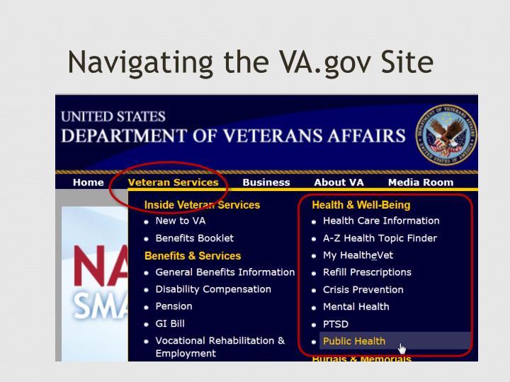 Navigating the VA.gov Site
