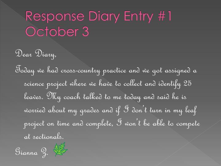 Response diary entry 1 october 3