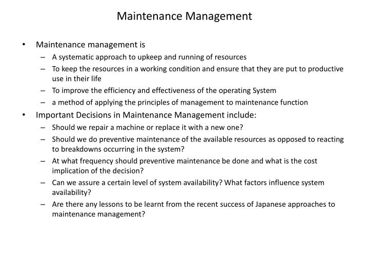 maintenance management n.