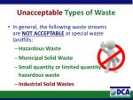 unacceptable types of waste