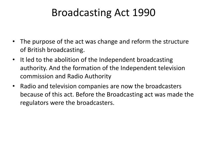 broadcasting act 1990 n.