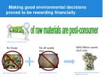 making good environmental decisions proved to be rewarding financially