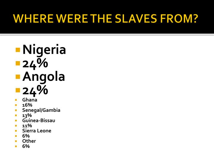 WHERE WERE THE SLAVES FROM?