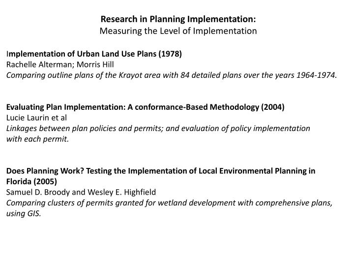 Research in Planning Implementation: