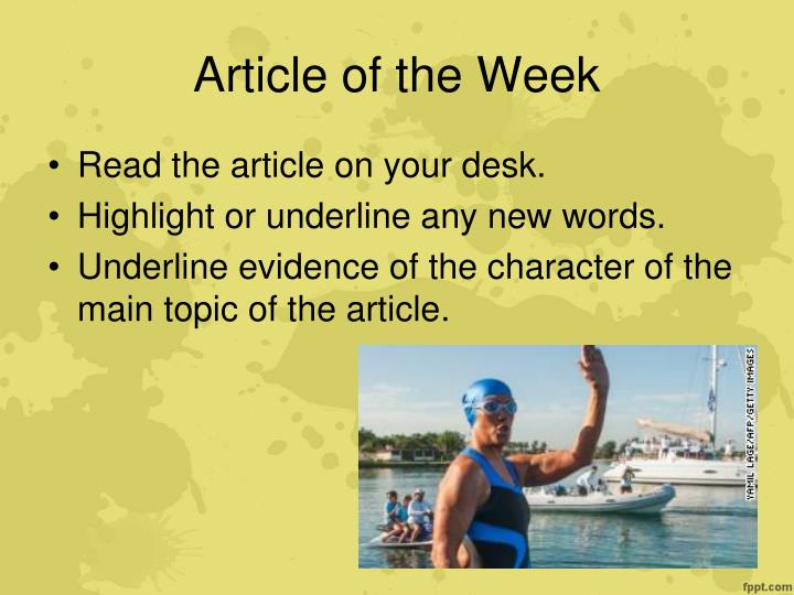 Article of the Week