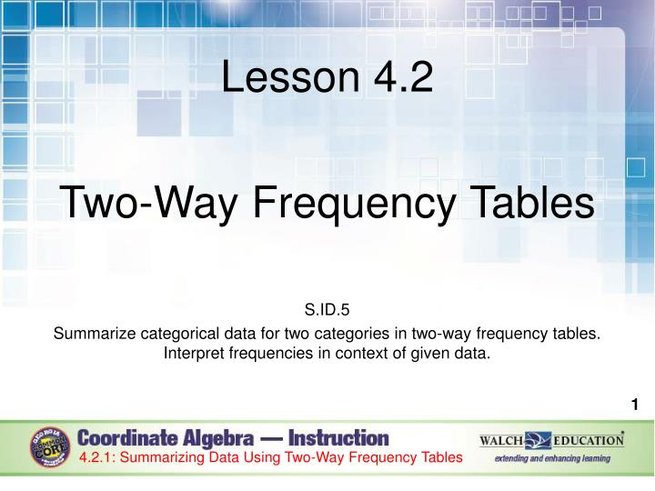 PPT Lesson 4 2 Two Way Frequency Tables S ID 5 PowerPoint