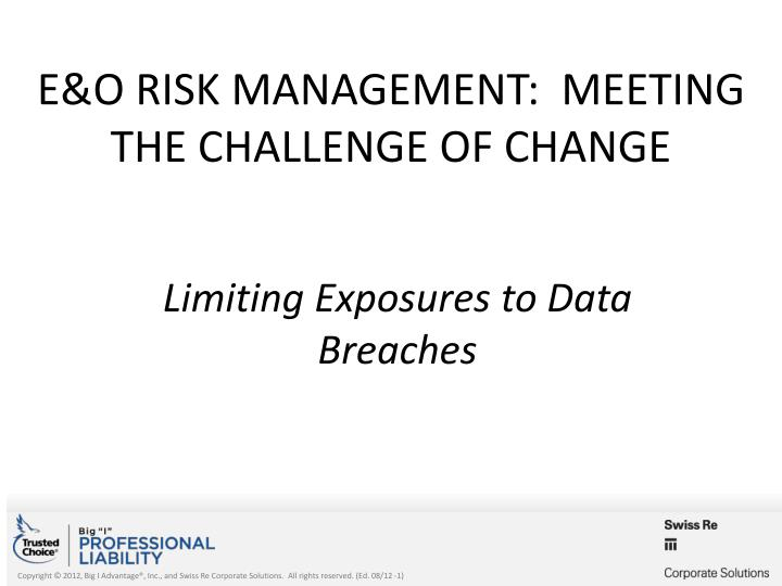e o risk management meeting the challenge of change