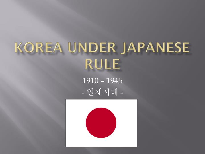 korea under japanese rule n.