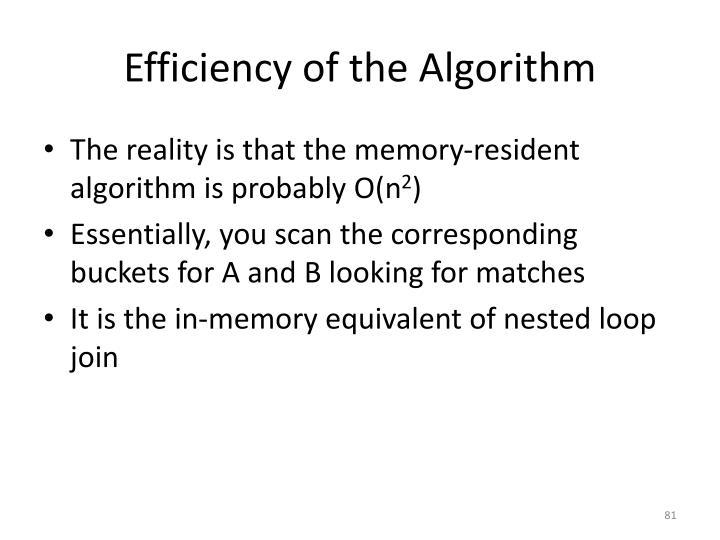 Efficiency of the Algorithm