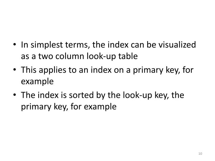 In simplest terms, the index can be visualized as a two column look-up table