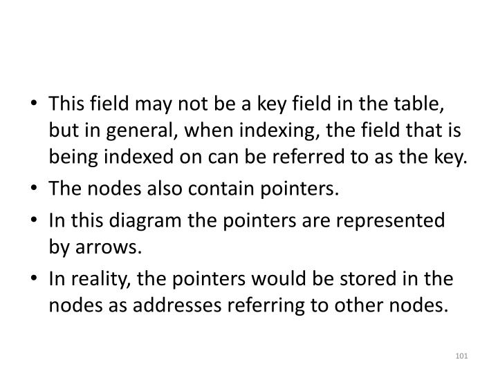 This field may not be a key field in the table, but in general, when indexing, the field that is being indexed on can be referred to as the key.