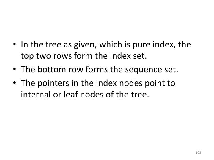 In the tree as given, which is pure index, the top two rows form the index set.