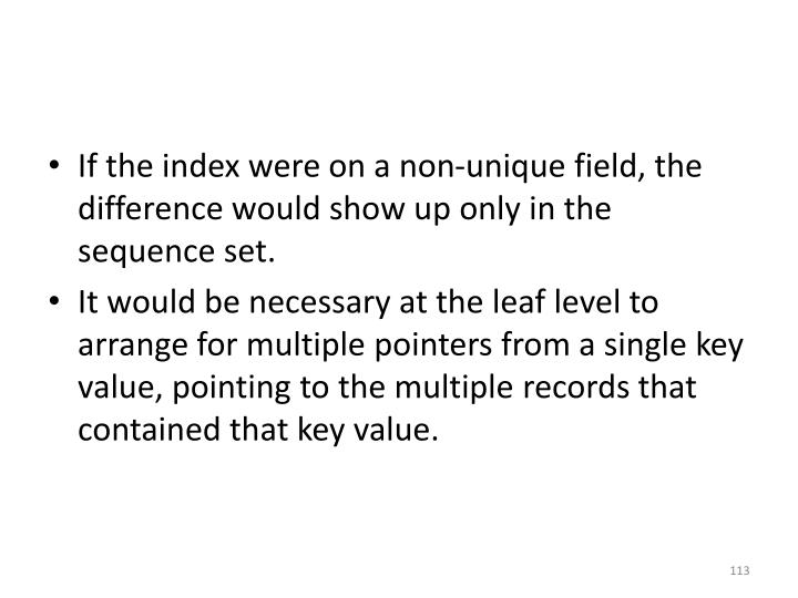 If the index were on a non-unique field, the difference would show up only in the sequence set.