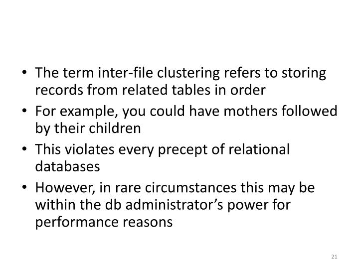 The term inter-file clustering refers to storing records from related tables in order