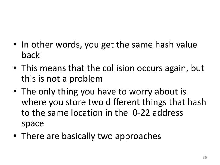 In other words, you get the same hash value back