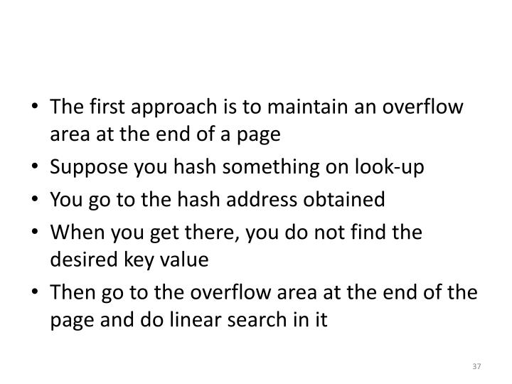 The first approach is to maintain an overflow area at the end of a page