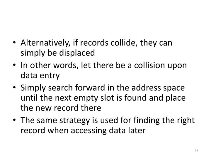 Alternatively, if records collide, they can simply be displaced