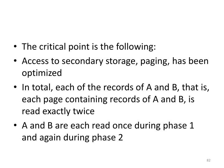 The critical point is the following: