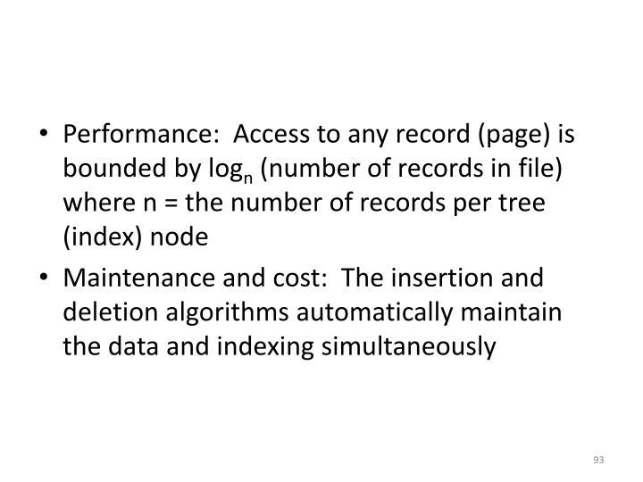 Performance:  Access to any record (page) is bounded by