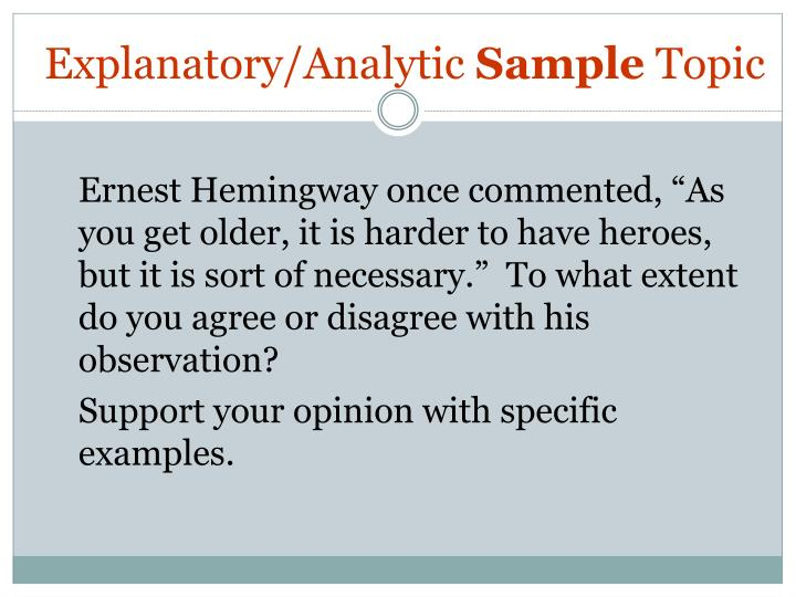 Explanatory/Analytic