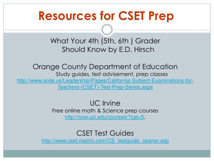 Resources for CSET Prep