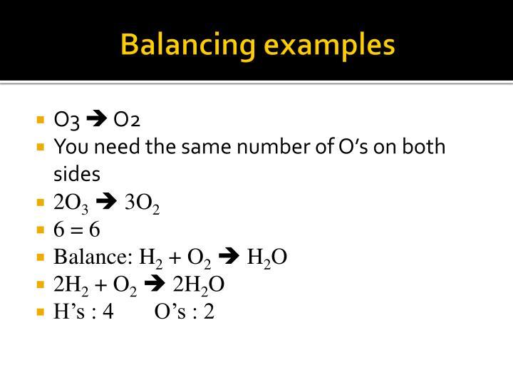 Balancing examples