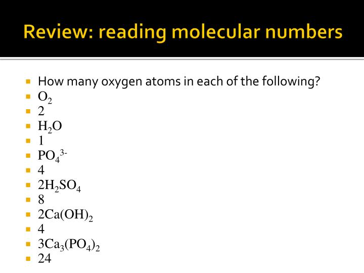 Review: reading molecular numbers