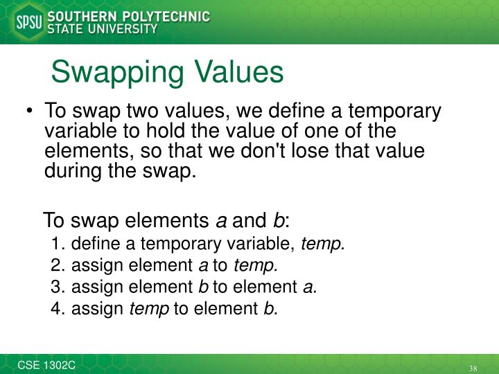 Swapping Values