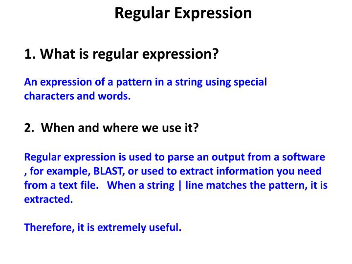 PPT - Regular Expression 1  What is regular expression