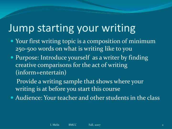 Jump starting your writing