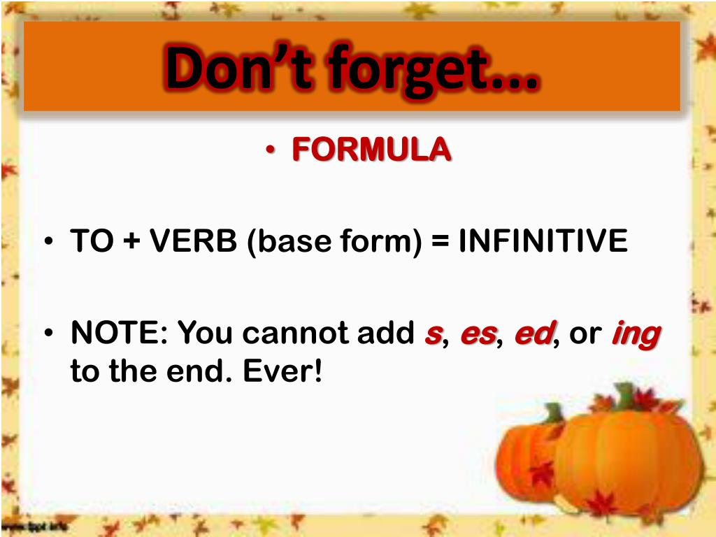PPT - Infinitives PowerPoint Presentation, free download ...
