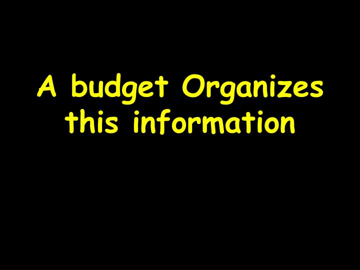 A budget Organizes this information
