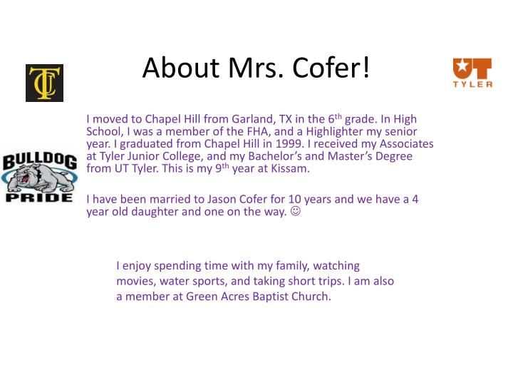 About mrs cofer