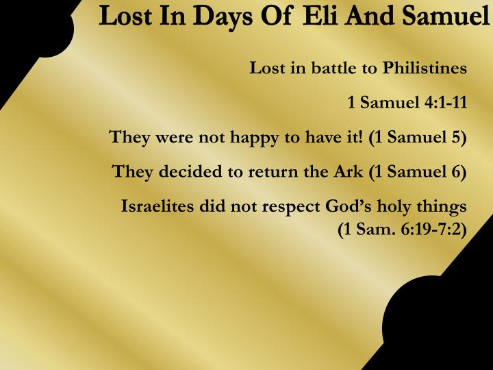 Lost In Days Of Eli And Samuel