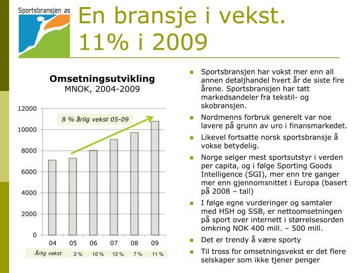 En bransje i vekst. 11% i 2009