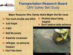 transportation research board cmv safety belt study