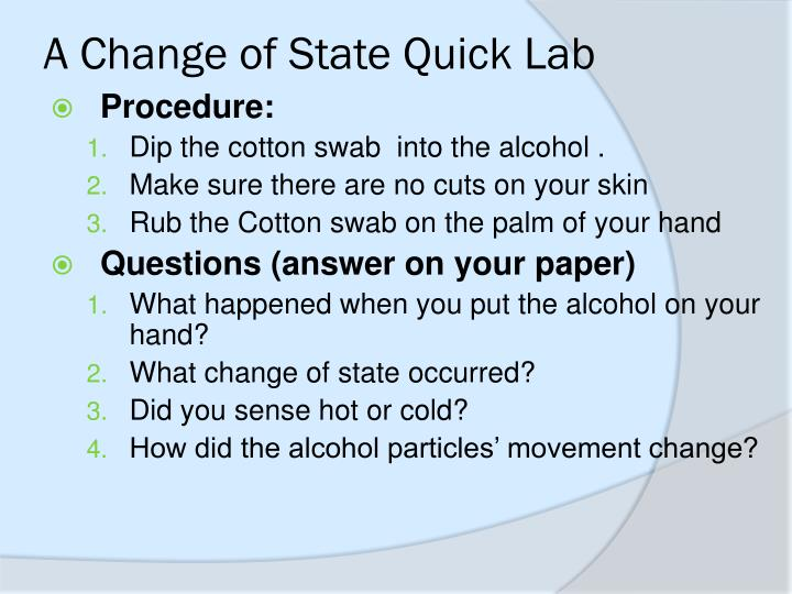 A change of state quick lab