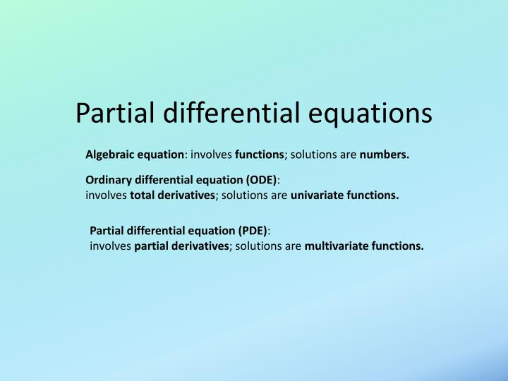 Partial differential equations