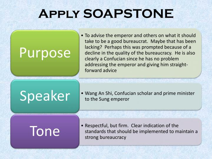 Apply SOAPSTONE