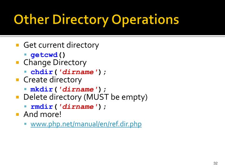 Other Directory Operations