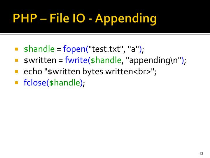 PHP – File IO - Appending