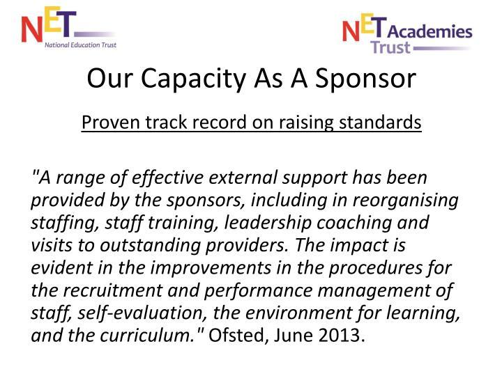 Our Capacity As A Sponsor