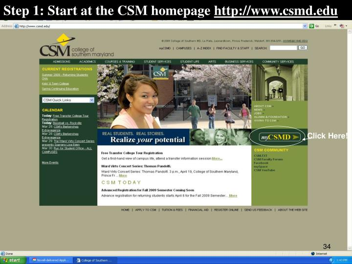 Step 1: Start at the CSM homepage