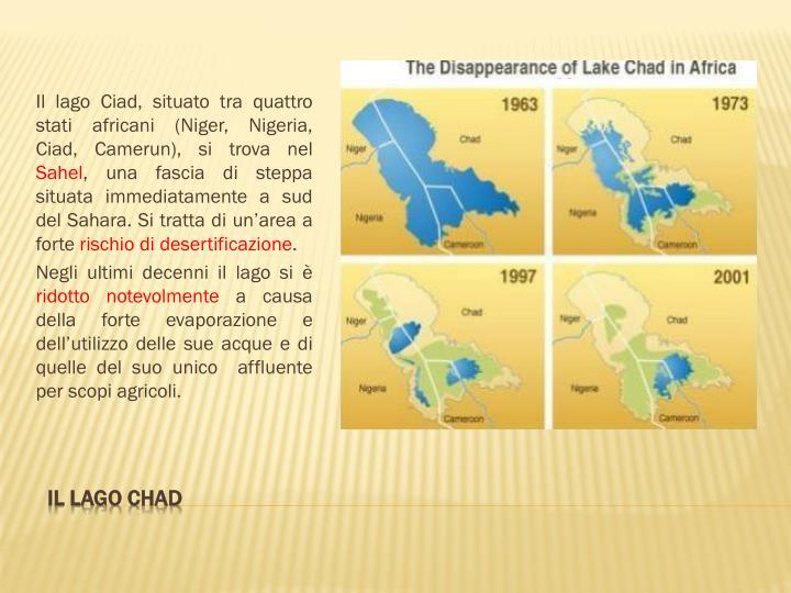 Il lago Ciad, situato tra quattro stati africani (Niger, Nigeria, Ciad, Camerun), si trova nel