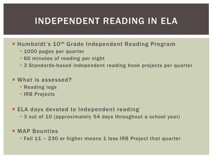 Independent reading in