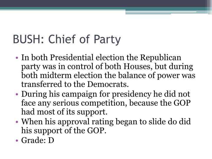 BUSH: Chief of Party